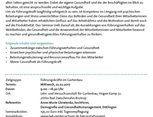 22.02.2017 – Gesundes Führen – Führungsverhalten und Gesundheit in Bad Zwischenahn, Rostrup: